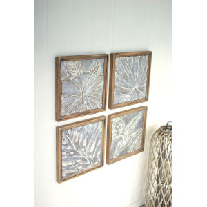 Multi-Colored Framed Tropical Pressed Metal Tile Wall Art, Set of 4
