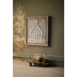 Brown Small Wood Framed Pressed Metal Church Wall Décor