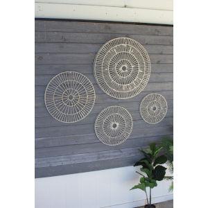White Handmade Paper Disc Wall Art, Set of 4
