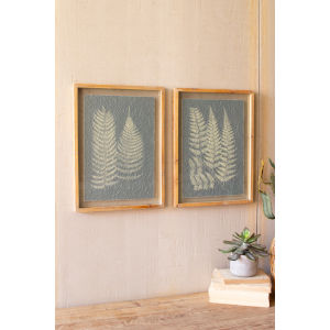 Multi-Colored Fern Print Under Glass Wall Art, Set of 2