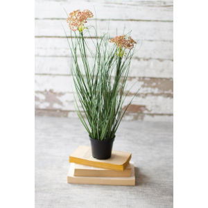 Green Artificial Potted Onion Grass with Flower, Set of Six