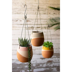 Multicolor Dipped Hanging Clay Pot, Set of Three