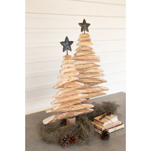 Natural and Black Recycled Wood Spinner Tree with Star, Set of 2