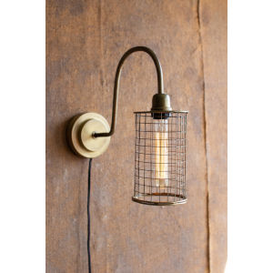 Antique Brass One-Light Wall Sconce with Wire Mesh Shade