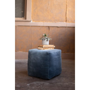 Steel Blue Velvet Pouf