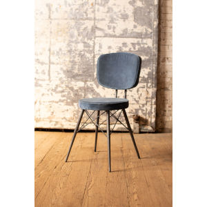 Steel Blue Velvet Dining Chair with Iron Frame