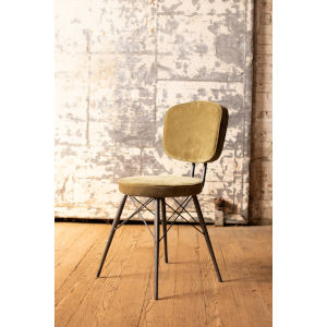 Avocado Velvet Dining Chair with Iron Frame
