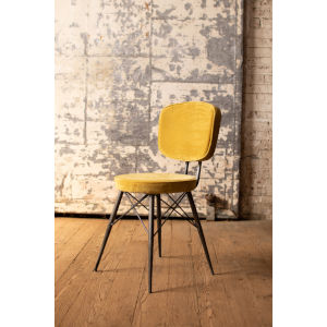 Honey Velvet Dining Chair with Iron Frame