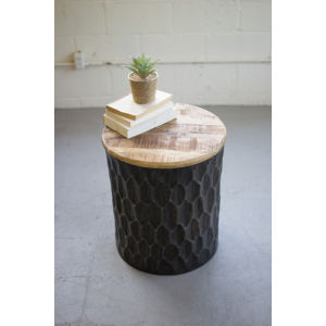 Grey 18-Inch Side Table with Mango Wood Top