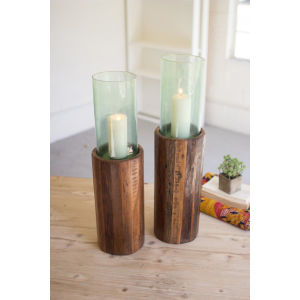 Beige Recycled Wooden Pedestal with Glass Hurricane, Set of Two
