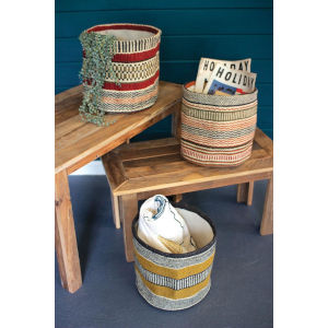 Rattan Wood Woven Jute Baskets Without Handles, Set of Three