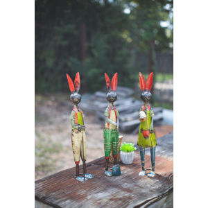 Multicolor Recycled Iron Rabbits, Set of Three