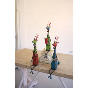 Multicolor Recycled Metal Deer Shelf Sitters, Set of 3