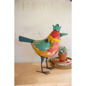 Multi-Colored Recycled Metal Bird with Crown