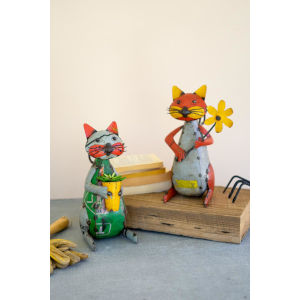 Multicolor Recycled Iron Cats with Flower Pot, Set of Two
