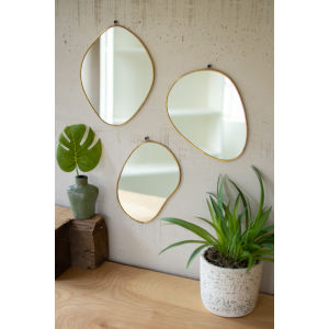 Brass Framed Organic Shaped Mirror, Set of 3