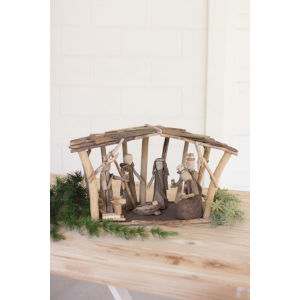 Natural Wooden Nativity Tabletop Decor