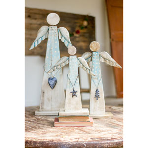 Recycled Wood Angels, Set of Three