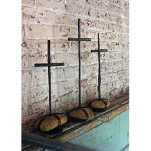 Rustic Iron Scrap Metal Crosses w/ Caged Rock Bases-Set of 3