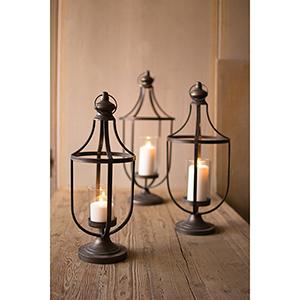 Set of Three Metal Lanterns With Glass Insert