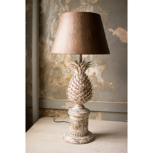 Distressed White One-Light Pineapple Table Lamp