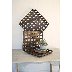 Set of 3 Dark Brown Square Woven Split Wood Baskets