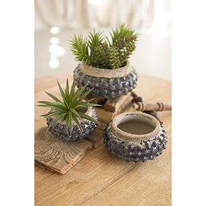 Set of Three Dark Blue Knobby Ceramic Planters