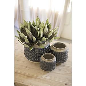 Set of Three Dark Blue Knobby Ceramic Pots