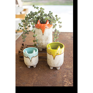 Set of Three Ceramic Fox Planters