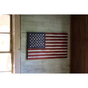 Multi-Colored Wooden American Decorative Flag