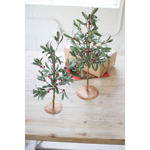 Artificial Mistletoe Trees, Set Of Two