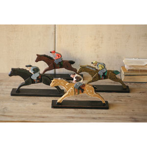 Wooden Horse and Jockeys, Set of Four