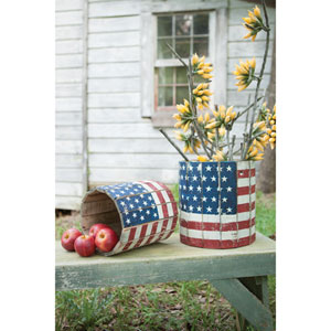 Round Wooden Flag Planters, Set of Two