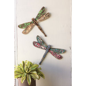Wooden Dragonfly Wall Art, Set of Two