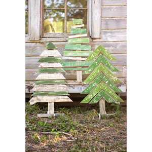 Recycled Wooden Trees, Set of Three