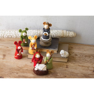 Felt Mice Nativity Scene, Eight Piece Set