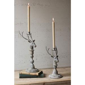 Metal Deer Taper Candle Holders, Set of Two
