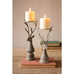 Deer Pillar Candle Holder, Set of Two