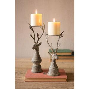 Deer Pillar Candle Holder, Set of Two