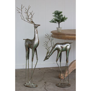 Antique Silver Metal Deer, Set of Two