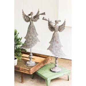 Metal Angels Blowing Horns, Set of Two