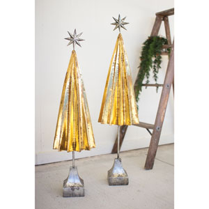 Folded Gold Metal Trees with Silver Star, Set of Two
