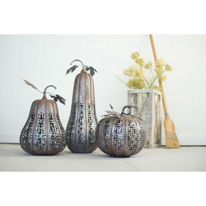 Metal Rustic Galvanized Pumpkins, Set of Three