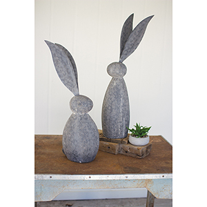Faux Stone Rabbit With Tall Metal Ears - Tall