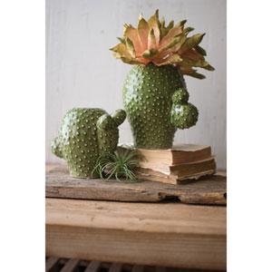 Round Ceramic Cactus Vases, Set of Two