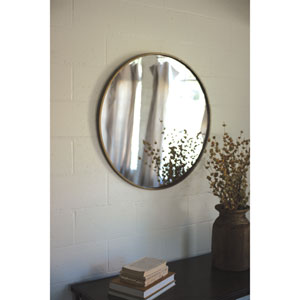 Round Antique Brass Metal Framed Mirror
