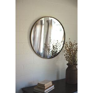 Round Antique Brass Metal Framed Mirror