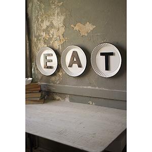White And Black Tin Eat Sign