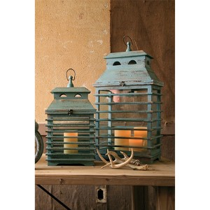Vintage Blue Shutter Lantern, Set of 2