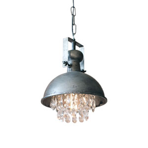 Gun Metal One Light Dome Pendant With Hanging Crystal